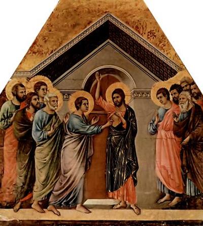 Дуччо ди Буонинсенья Маэста. Алтарь сиенского кафедрального собора: Неверие Фомы. 1308-1311 гг.