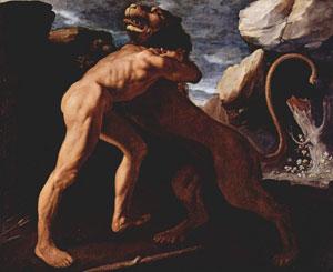 Геракл добывает шкуру немейского льва