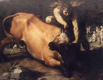 Геракл побеждает критского быка