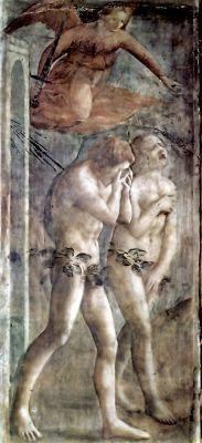 Мазаччо.  Цикл фресок в капелле Бранкаччи в Санта Мария дель Кармине (Флоренция): изгнание из рая.    1425-1428 гг