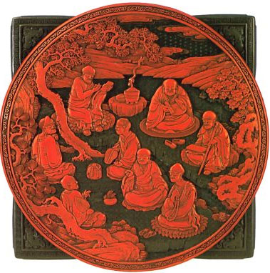 Шкатулка с изображением восьми бессмертных.  Конец 18 в.